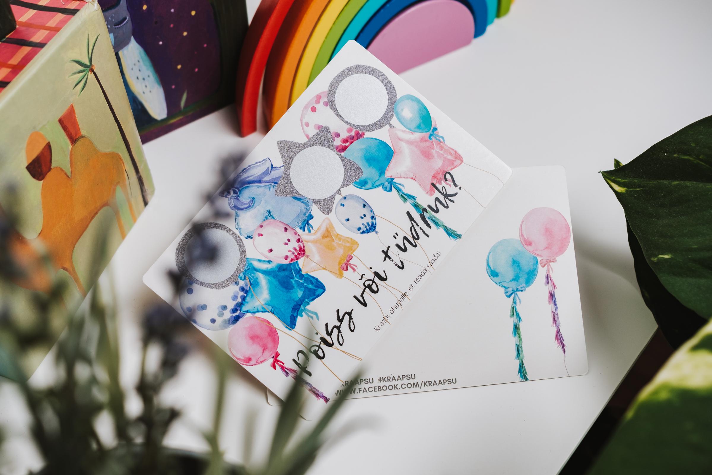 gender reveal kaart soo teatamise kaart õhupallid poiss või tüdruk beebi