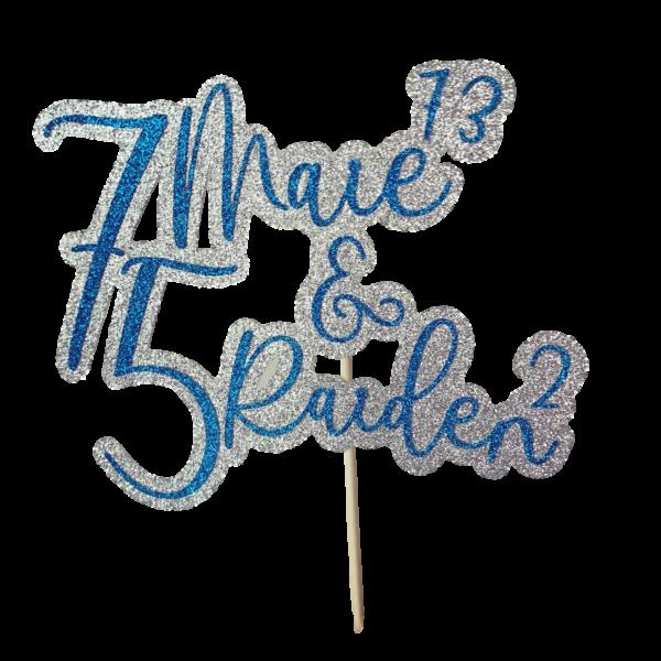 ekstra glitter koogitopper sünnipäevaks sinine hõbedane