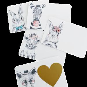 loomadega postkaarditoorikud valmista ise kaart kraabitav ünnitluskaart kutsed sebra rebane jänes lõvi