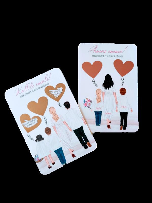 Ema ja pere personaliseeritav emadepäeva kaart kraabitav