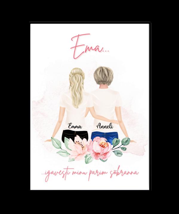 Personaalne poster ema ja lapsed emadepäev kingitus