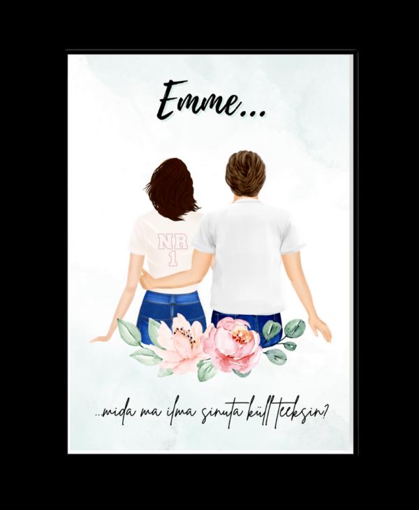 Poster ema ja lapsed sinine personaalne kingitus emadepäev