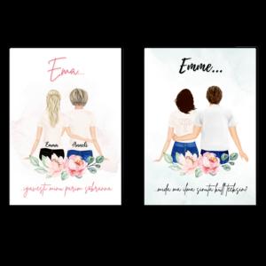 Poster ema ja lapsed emadepäev personaalne kingitus