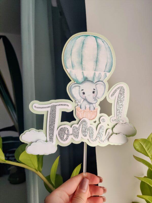 kuumaõhupall elevant koogitopper kaunisttus topper sinine 1 aasta sünnipäev cake topper hot air balloon clouds elephant decoration one year 1st birthday