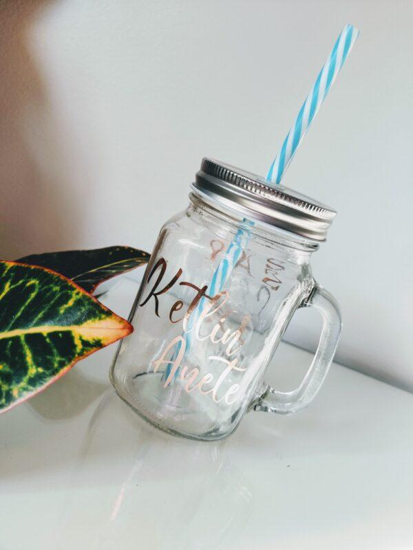 Oma tekstiga nimega joogikruus klaasist kruus tass tops drinking jar