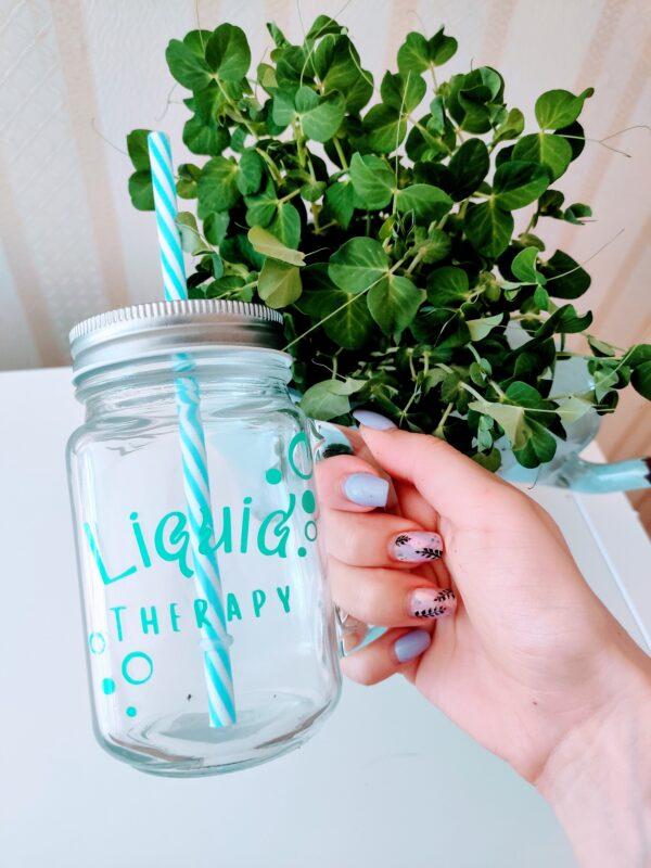 klaasist joogikruus drinking glass jar tops tass oma tekstiga nimega vinüül kleebis