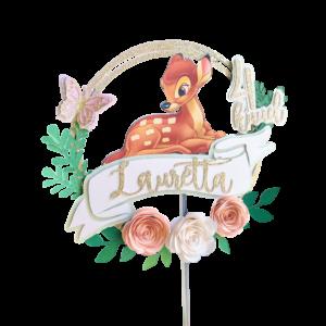 bambi lilledega personaale nimeline koogitopper kraapsu tordikaunistused
